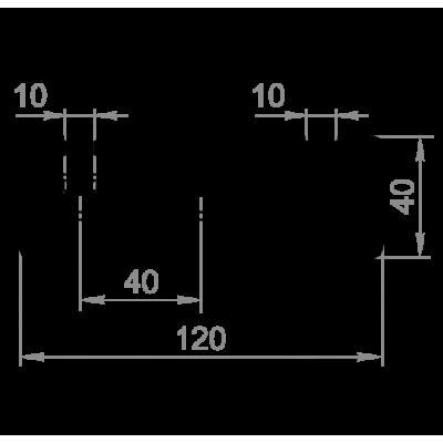 Алюминиевый станочный, конструкционный профиль 40x120 (40120). Без покрытия